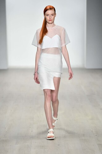 skirt top sydney fashion week fashion week runway model asymmetrical skirt see through see through top karla spetic