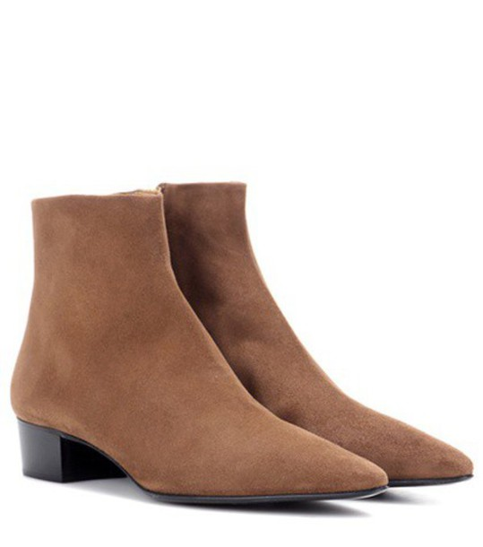 The Row Ambra Suede Ankle Boots in brown