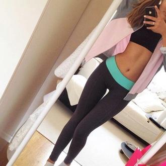 leggings grey fitspo turquoise instagram fitness yoga pants
