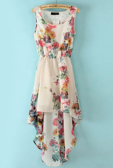 floral pink dress flowers blue purple colorful white yellow red green orange