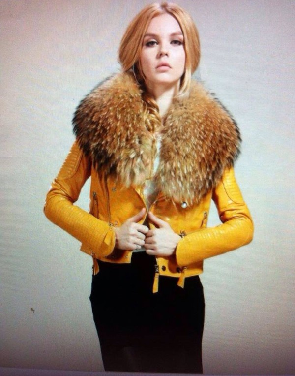 coat jacket a leather jacket with fur around the e collar large fur jacket yellow fur collar coat leather jacket yellow jacket