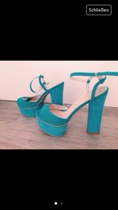shoes,blue high heels plateau turquoise
