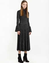 dress,grey marle ribbed bell sleeve dress,casual dress,ribbed dress,midi dress,grey dress,cute dress,maxi dress,bell sleeve dresses,holiday dress,bell sleeves,special occasion dress,glitter dress,winter dress,fall dress,long dress,knitted dress,knitwear,heather grey