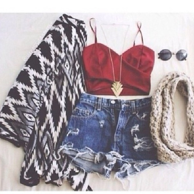 jewels red scarf jacket shirt shorts blouse black and white cardigan scarf red