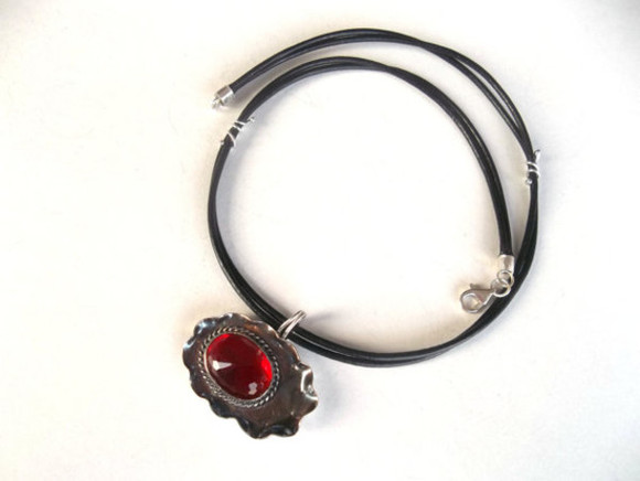 sterling silver jewels hanmadesilver jewelery sterling silver necklace silver pendant ruby red