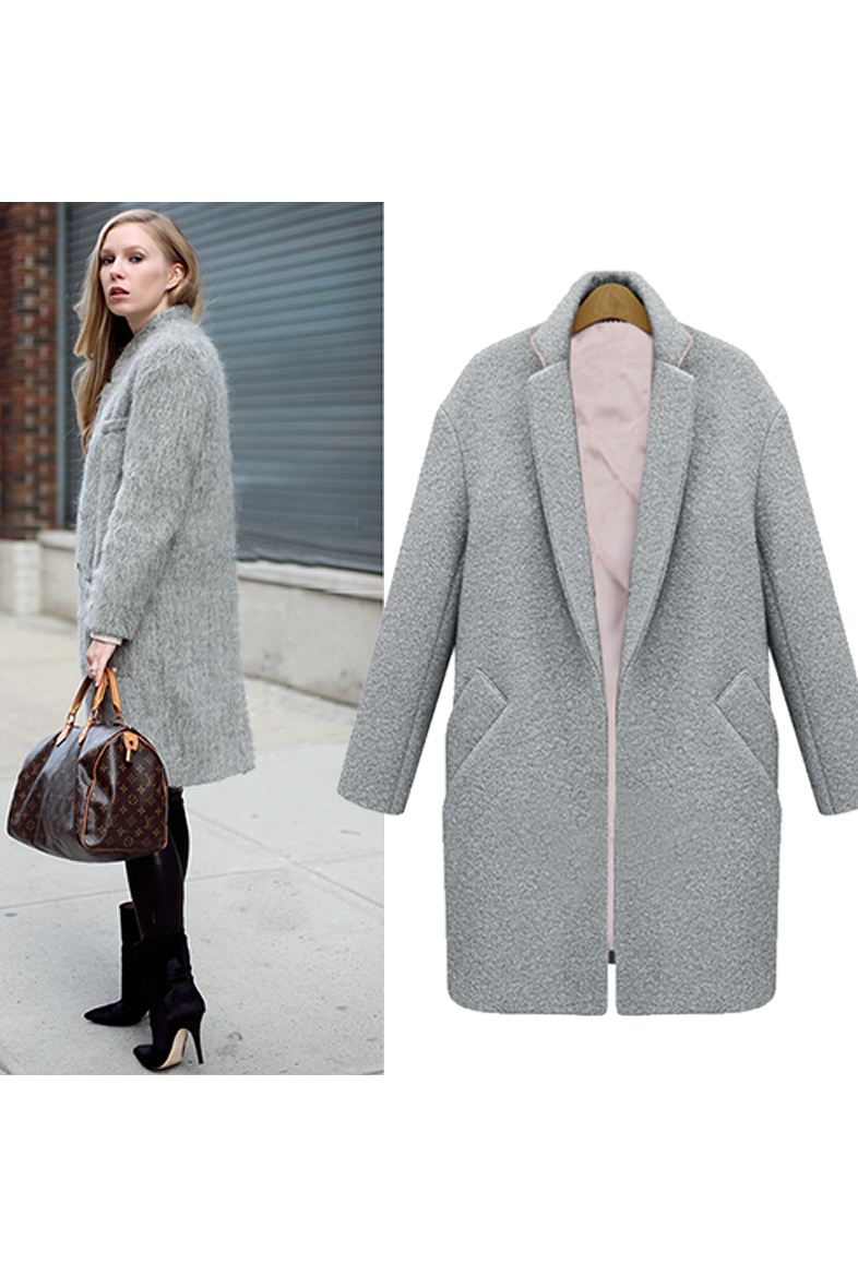 Grey diagonal pockets long wool cocoon collar coat – goodnight macaroon
