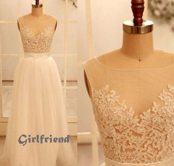 Dress Prom Prom Dress Lace Dress Cream Dress Long Prom Dress