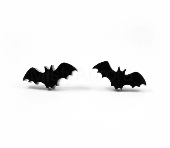 Cyber Monday Halloween Jewelry  Black Bat Stud by MistyAurora