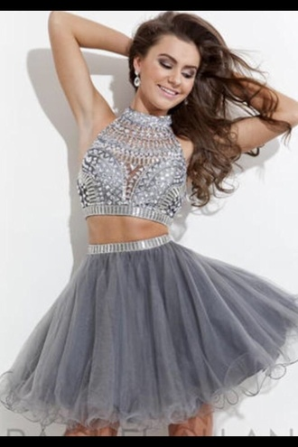dress prom dress homecoming dress clothes grey two piece silver short homecoming dress homecoming skater skirt skater dress two piece dress set two-piece silver dress blue gray dress grey dress party dress two piece prom dresses two pieces prom dress 2 piece prom dress homecoming dresses 2016 2016 homecoming dresses cocktail dress short party dresses short prom dress 2016 short prom dresses