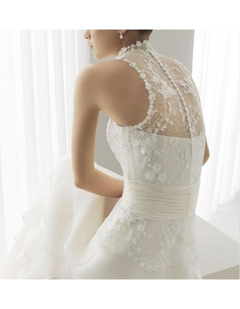 Layers waist pleat embellished train wedding dress
