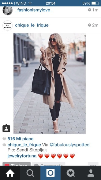 coat camel beige brown autumn fall winter outfit black