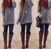sweater,necklace,scarfs,lwggings,leggings,boots,shoes,scarf,knee high boots,brown leather boots,jacket,jewels,bag,winter outfits,shirt,oversized sweater,grey top,brown riding boots,brown boots,gray knit scarf,winter sweater,blouse,purple sweater,cute sweatersd,grey sweater,burgundy scarf,outfit on point,cardigan,purse,outfit,jewells,jeans,winter coat,tumblr sweater,top,cute sweaters,cross necklace
