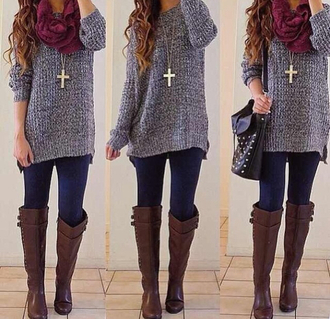 sweater necklace scarfs lwggings leggings boots shoes scarf knee high boots brown leather boots jacket jewels bag winter outfits shirt oversized sweater grey top brown riding boots brown boots gray knit scarf winter sweater blouse purple sweater cute sweatersd grey sweater burgundy scarf outfit on point cardigan purse outfit jewells jeans winter coat tumblr sweater top cute sweaters cross necklace