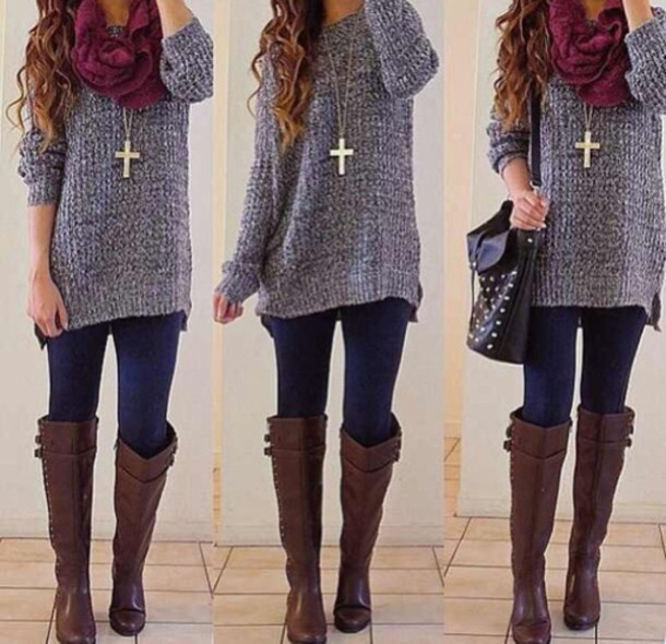 sweater necklace scarfs lwggings leggings boots shoes scarf knee high boots brown leather boots jacket jewels bag winter outfits shirt oversized sweater grey top brown riding boots brown boots gray knit scarf winter sweater winter outfits blouse purple sweater cute sweatersd grey sweater burgundy scarf outfit on point cardigan purse winter outfits outfit winter outfits jewells jeans winter coat tumblr sweater grey sweater top cute sweaters cross necklace