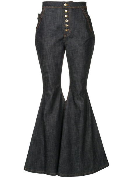 ellery jeans flare jeans flare women spandex cotton blue
