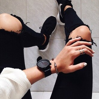jewels wheretogetit??? watch black watch nike fashion sportswear cool clock women watches jeans black jeans black ripped jeans pants