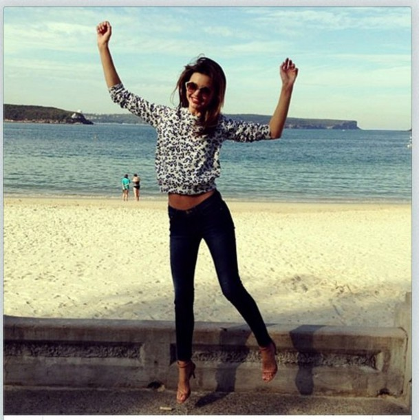 sweater miranda kerr swater leopard print leopard print swimwear shoes