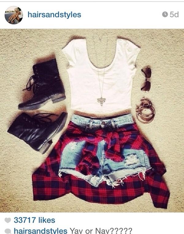 sweater plaid shirt red and black plaid flannel shirt tank top shirt shorts
