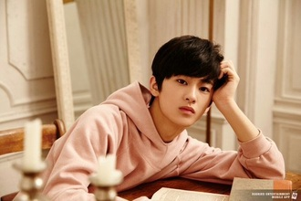 sweater mark lee cuff hoodie pink pastel