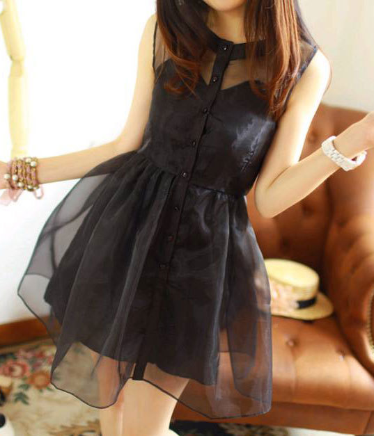 [grhmf260002061]Retro Classical Sweet Button Placket Organza Sleeveless Dress