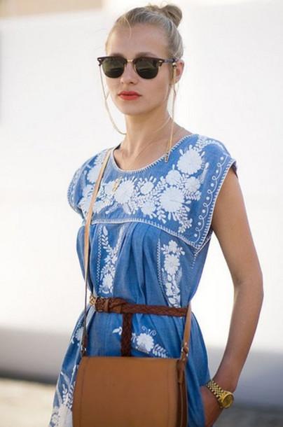 blue dress zara tunic embroideries white blue dress white dress sunglasses sweet dress blue baby dress zara dress