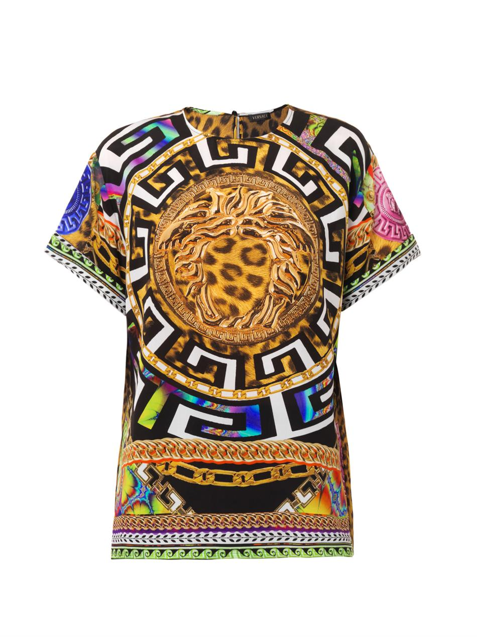 Medusa and leopard-print silk top | Versace | MATCHESFASHION.COM