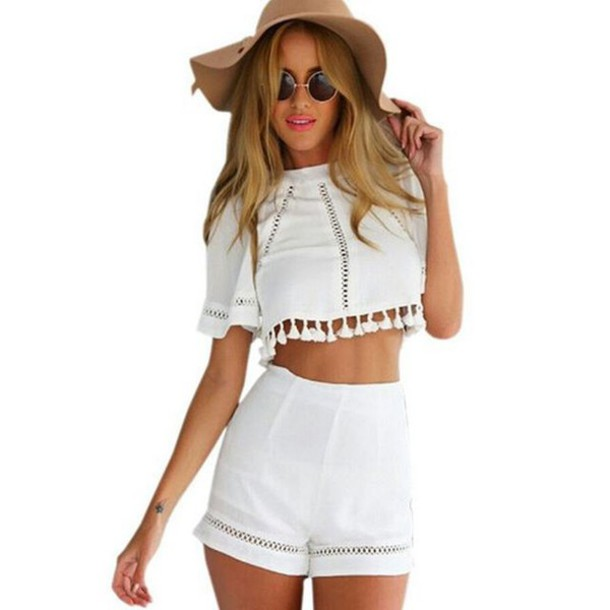 75a04eac40 jumpsuit bikini luxe crop tops High waisted shorts white pom pom crop top  tassel