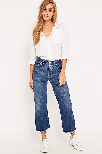 501 Levis Vintage Wash Urban Dark Jeans Cropped Renewal Customised wIfxpqPTR