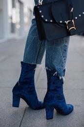 shoes,tumblr,boots,blue boots,velvet,velvet shoes,velvet boots,high heels boots,ankle boots,jeans,denim,blue jeans,bag,black bag