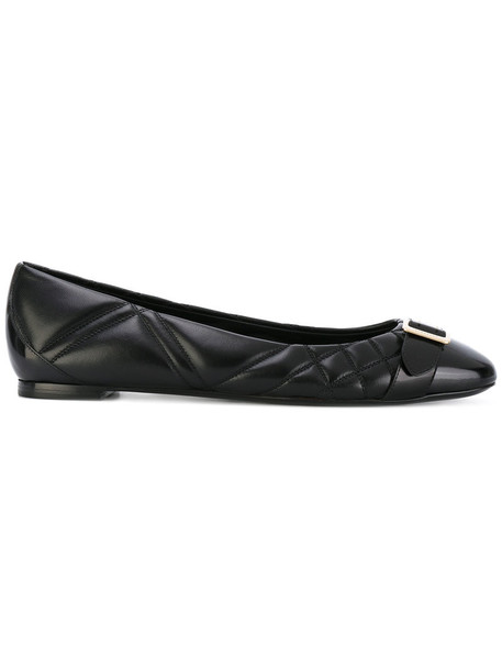 women quilted leather black shoes