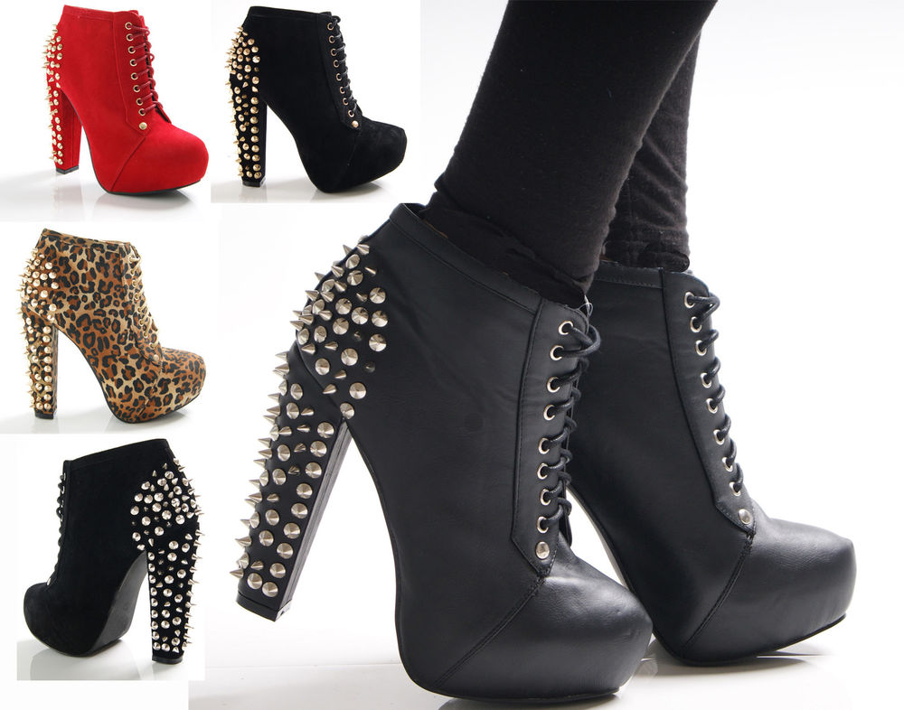 NEW LADIES WOMENS LACE UP FAUX SUEDE SPIKE STUD CHUNKY HEEL ANKLE BOOTS SHOES | eBay