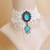 jewels,crystal quartz,lace necklace,choker necklace