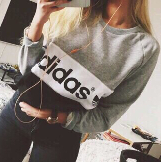 sweater adidas adidas sweater grunge hipster indie tumblr tumblr clothes tumblr girl grey sweater black logo
