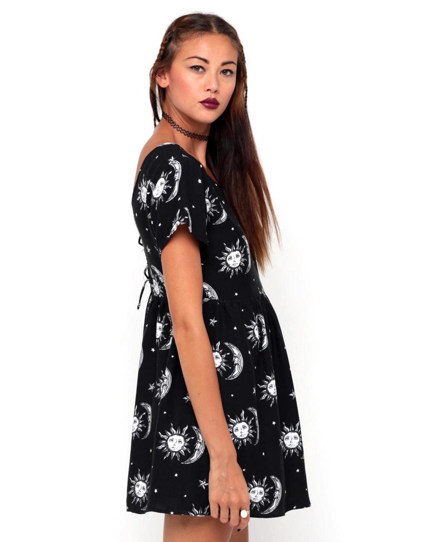 Buy Motel Tiara Babydoll Dress in Sun Moon Stars Print at Motel Rocks