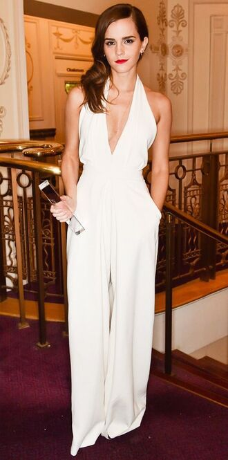 jumpsuit palazzo jumpsuit white jumpsuit plunge v neck v neck date outfit emma watson celebrities in white celebrity backless jumpsuit