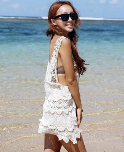On Sale vestidos free shipping summer White Beach Dress Crochet Cover Ups Dudalina Cropped Tops Camisas Feminias Blusa Renda-in Cover-Ups from Apparel & Accessories on Aliexpress.com