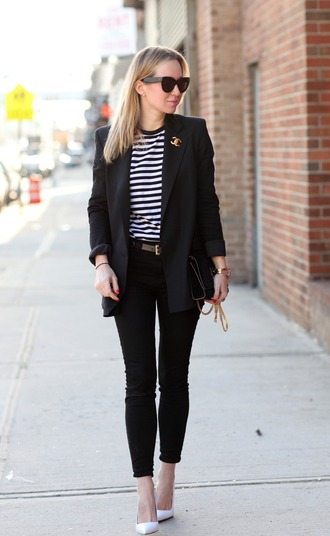 brooklyn blonde blogger striped top black jacket blazer black jeans jacket shoes bag jewels chanel brooch chanel accessory jeans stripes black blazer pumps white pumps pointed toe pumps high heel pumps black bag atlantic pacific work outfits office outfits fall outfits sunglasses black sunglasses