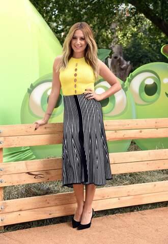 top midi skirt ashley tisdale pumps striped skirt yellow yellow top