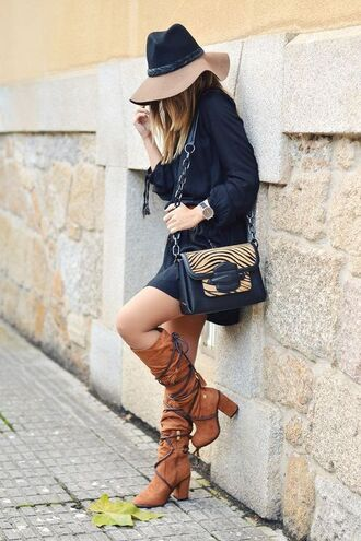 dress mini dress black dress long sleeves long sleeve dress boots knee high boots brown boots high heels boots bag shoulder bag thick heel block heels hat fall outfits