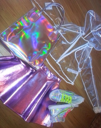 skirt jacket purse purple clear shiny shiny skirt kawaii retro cool urban streetwear dope coat bag holographic bag holographic iridescent sneakers