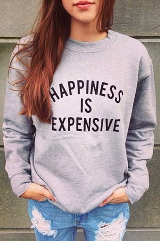 sweater fall outfits round neck letter print gray sweatshirt casual grey fashion quote on it long sleeves