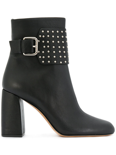 studded women ankle boots leather black shoes
