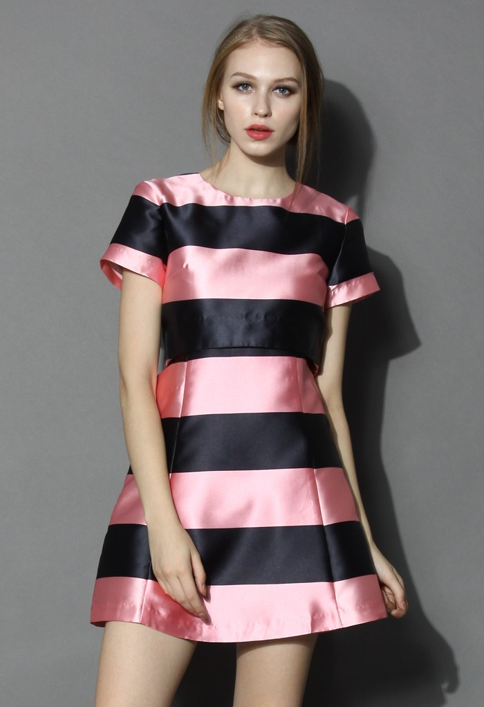 Contrast Stripes Cutout Dress in Pink - Retro, Indie and Unique Fashion
