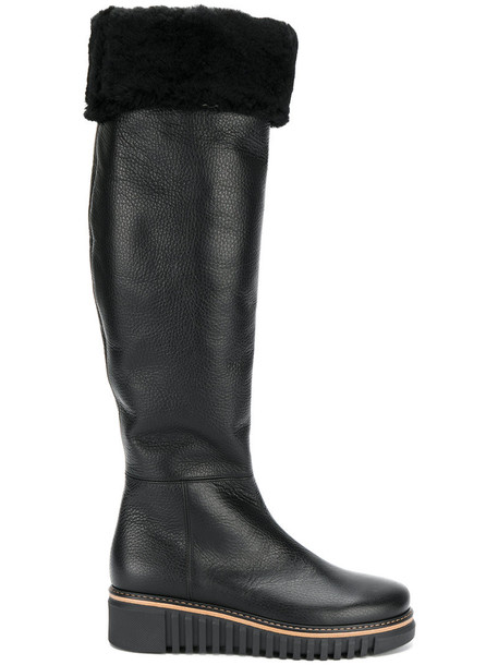 Loriblu wedge boots fur women leather black shoes