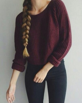 sweater burgundy sweater winter sweater burgundy