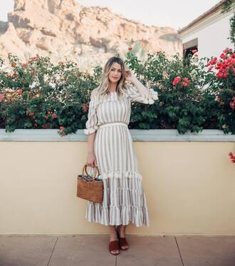 dress bag tumblr off the shoulder off the shoulder dress stripes striped dress shoes mules basket bag