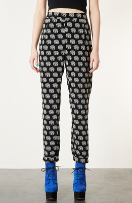 Topshop Elephant Print Pants Womens Black Size 8 8