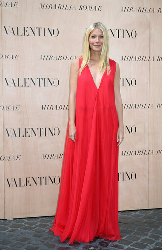 dress red red dress gwyneth paltrow maxi dress prom dress
