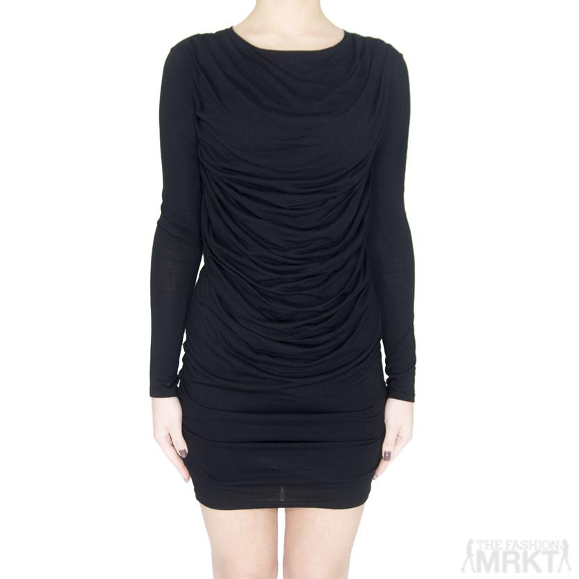 HELMUT Helmut Lang Kinetic Draped Long Sleeve Jersey Dress / TheFashionMRKT