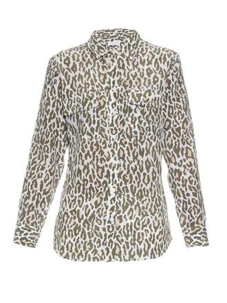 shirt print silk khaki top
